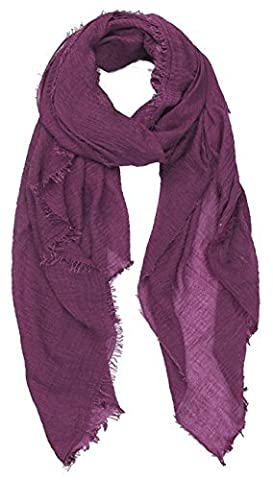 World of Shawls Ladies Distressed Crinkle Scarf Maxi Wrap Large Warm Soft (Magenta)