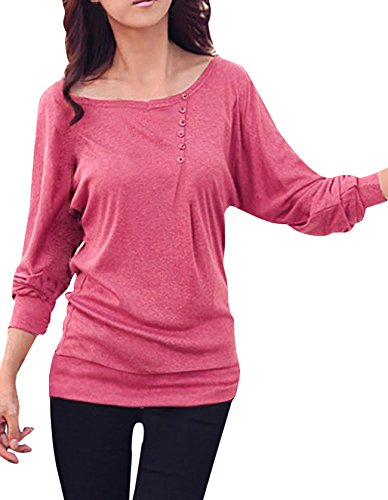 allegra-k-lady-boat-neck-batwing-sleeve-buttons-decor-ribbed-trim-leisure-blouse-l-uk-14-fuchsia