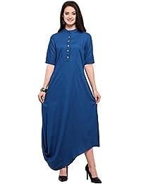 Inddus Blue Cotton Rayon Solid Asymmetric Flared Dress