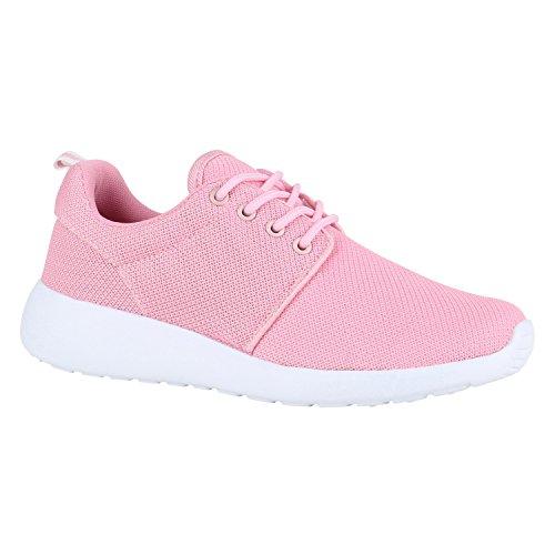 Damen Sport BlumenNeon Stoff GlitzerMetallic Lauf Lack Animal Print Sneaker Runners Trainers Schuhe 142139 Rosa Weiss 38 | Flandell®