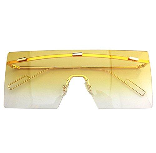 QQBL Männer Und Frauen Allgemeine Tendenz Reflektierende Sonnenbrille Retro Großen Rahmen Gradienten Harz Metall Sonnenbrille,Yellow