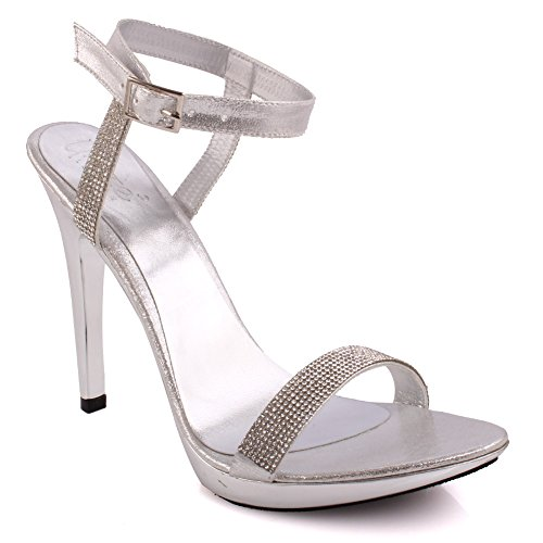Unze donne 'stella' tacchi a spillo abbelliti da promenade del partito di sera dei sandali da sposa scarpe formato britannico 3-8
