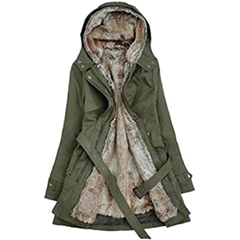 SODIAL (R)caliente mujeres espesan la capa caliente del invierno Abrigo con capucha anorak Chaqueta Larga abrigo Verde del ejercito -