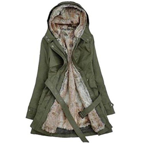 SODIAL (R) Frauen Dicker Warmer Wintermantel Kapuze Parka Mantel Lange Jacke Outwear - Armee Gruen - Groesse L