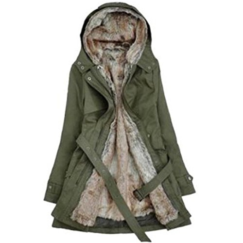 SODIAL (R)caliente mujeres espesan la capa caliente del invierno Abrigo con capucha anorak Chaqueta Larga abrigo Verde del ejercito - L