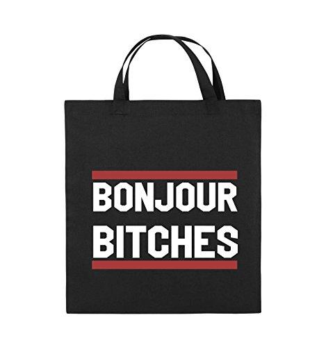 Borse Comiche - Bonjour Bitches - Borsa Di Juta - Manico Corto - 38x42cm - Colore: Nero / Bianco-neon Verde Nero / Bianco-rosso