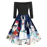 UFODB Weihnachtskleid Frauen Weihnachten kostüm Schulterfrei Weihnachtskleid Damen Patchwork Schneemann Deer Print Langarm Vintage A-Linie Party Kleider Festkleider