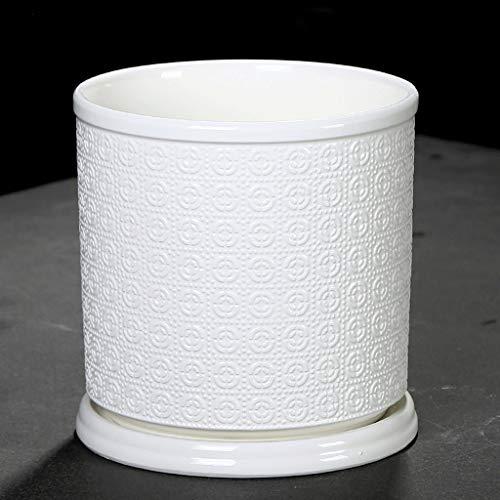 CJH Kreativer einfacher weißer Keramiktopf mit Behälter Innen kreativer großer grüner Blumen-Topf F. (Innen-blumen-töpfe)