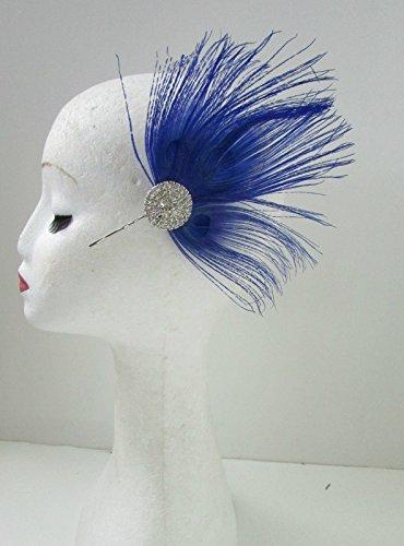Bleu/Argent Diamante paon plumes à cheveux vintage Races 20 Y55 * * * * * * * * exclusivement vendu par – Beauté * * * * * * * *