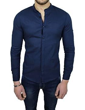 Camicia uomo sartoriale in lino blu scuro casual estiva slim fit