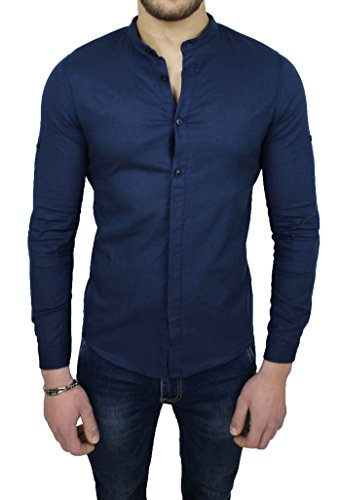 Camicia uomo sartoriale in lino blu scuro casual estiva slim fit (l)