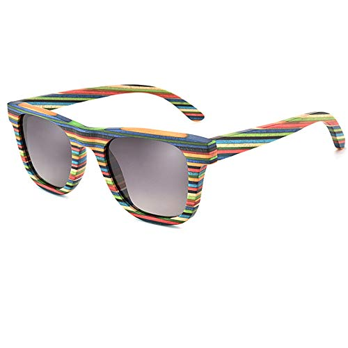 Holzsonnenbrille für Damen und Herren Persönlichkeit Bunt polarisierte Anti-UV-Sonnenbrille UV400-Schutz,GrayLens