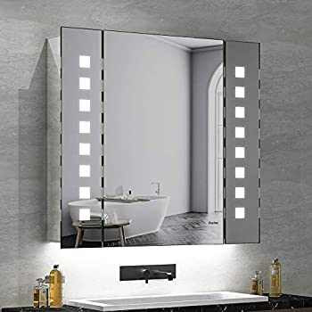 Panana Badzimmer Spiegelschrank mit LED Licht ...
