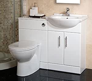 55 white toilet and basin vanity combination unit amazon - Combination bathroom vanity units ...
