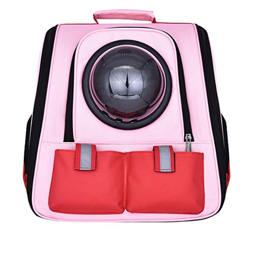 obzk Pet Space Backpack Carrier Tragbarer, von der Fluggesellschaft zugelassener, reisender Hunderucksack für kleine Katzen und Hunde,Pink,M (Pet Pink Fluggesellschaft Carrier)