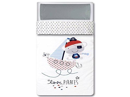 pirulos 33013320 - Sac couette, motif pirate, coton, 62 x 125 cm, blanc et gris