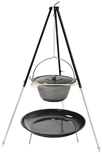 Grillplanet® Dreibein mit Gulaschkessel 10 Liter Eisen, Deckel und Feuerschale