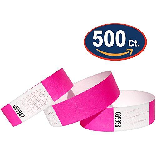 500 Eintrittsbänder aus Tyvek, NEON PINK - Rosa - Party Einlassbänder, Securebänder, Festival Armbänder, Kontrollbänder für dein Event