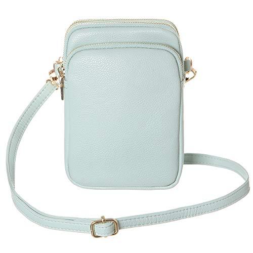 HAIDEXI Leichte Nylon kleine Geldbörse und PU Leder kleine Umhängetasche Handy Geldbörse Geldbörse für Frauen, Grn (Leather-aqua), Small