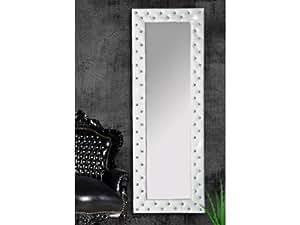 Miroir capitonné Strass simili cuir blanc 170x60 cm