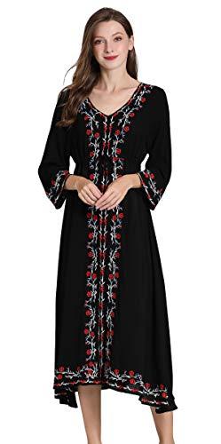 al 3/4-Ärmel Floral bestickt mexikanische Bauer Dressy Tops Blusen Hemd Kleid Tunika Gr. 36, Schwarz ()