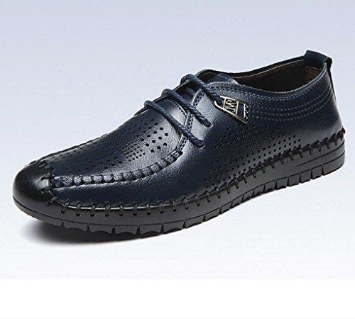 HYLM I pattini respirabili della cavità del cuoio di estate di calza i pattini casuali dei sandali degli uomini-cuoio di cuoio Blue