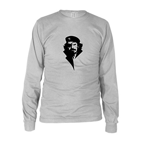 Viva Big Boss - Herren Langarm T-Shirt, Größe: M, Farbe: weiß (Metal Gear Solid 3 Big Boss Kostüm)