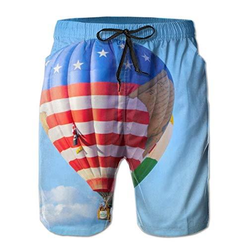 DPASIi Men's Swim Trunks Hot Air Balloon American Flag Blue Sky Surfing Beach Board Shorts Swimwear XX-Large -