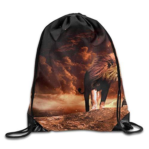 DHNKW Lion Big Cat Cyber Monday Unisex Gym Drawstring Shoulder Bag Backpack String Bags Cyber-balance