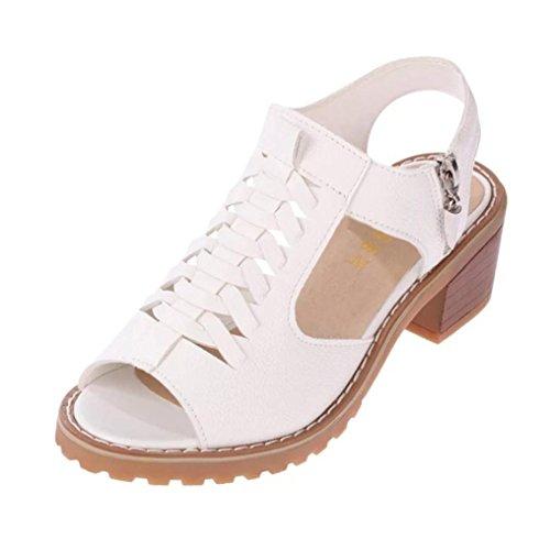 Zycshang pantofole donna, 2018 peep toe shoes da donna con tacco a spillo in tinta unita (36, binaco)