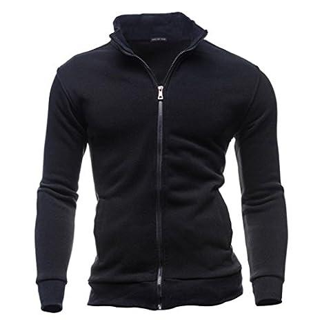 Internet Homme Hiver Chaud Polaires Veste Doublé Polyester Manteaux Doux Blousons Sweat-shirts Outwear Tops (L, Noir)