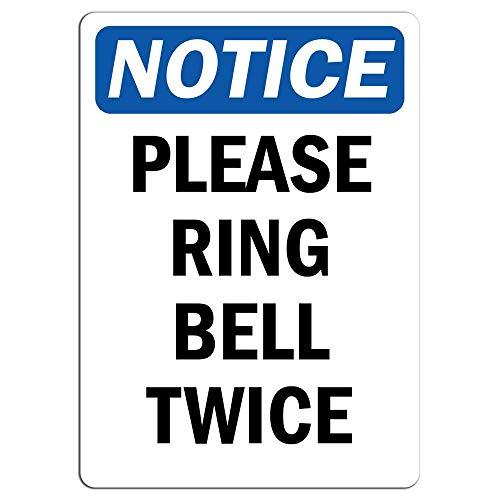 Hinweisschild Please Ring Bell Twice aus Metall, lustiges Warnschild, Privat Eigentum Gefahr, für Zuhause Hof, Vorsicht Hinweisschild, Geschenkidee, 8 x 12 cm (Zaun Bell)