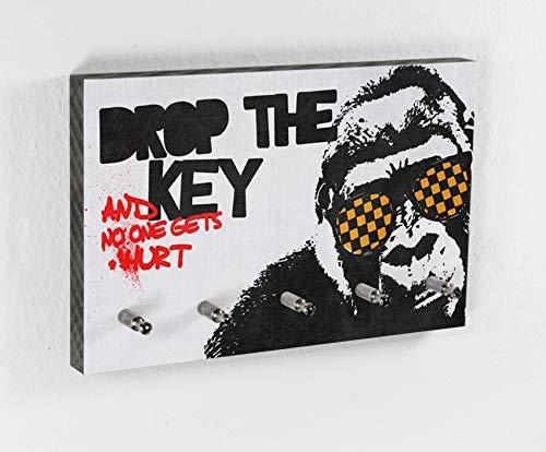 Schlüsselbrett Monkey | Drop it | 5 Haken | Cooler Style | Guter Spruch | Flur | Geschenk zum Einzug | Gemütlich | Richtig lustig | Hakenleiste | Affe mit Sonnenbrille