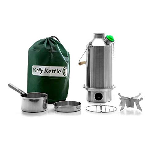 41E9MlP4J9L. SS500  - 'Base Camp' Kelly Kettle® - BASIC KIT (1.6 liter SST Camping Kettle + Cook Set + Pot Support) All items are Stainless Steel. NEW MODEL - Green Whistle Has Replaced The Orange Stopper. Camping Kettle and Camp Stove in one. Ultra fast lightweight wood fuelled stove. NO Batteries, NO Gas, NO Fuel costs! For Camping, Fishing, Scouts, Garden Allotments, Power Shortages, etc. Weight 1.62kg / 3.56lb