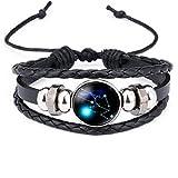 ICHQ Armband, 1x Mode Luminous Sternbild Zeit Edelstein Leder Perlen Armband Herren Damen Armbänder Kombinationen Armreifen Schmuck Geschenk Zubehör Leather Bracelet (Stier)