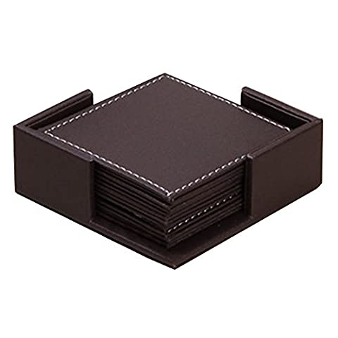 Japace® 1 Set (6 Pcs) Luxury water-proof Square PU Leather Table Mats Dinning Placemat Coasters for Cup Glass Tableware 10*10 CM -