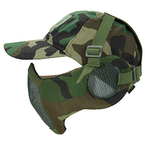 Aoutacc Airsoft Mesh Maske mit Ohrenschutz und verstellbarem Baseball Cap Set für CS/Jagd/Paintball/Shooting, WL