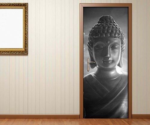 Türaufkleber schwarz weiss Buddha Statur - Buddhismus Tür Bild Türposter Türfolie Druck Aufkleber 15A2494, Türgrösse:90cmx200cm