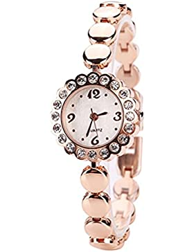 lvpai Damen Elegant Blume Form Strass Armband Armbanduhr–Rose Gold Band weißes Zifferblatt