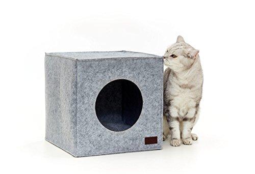 PiuPet Premium Katzenhöhle inkl. Kissen | Passend für z.B. IKEA® Kallax & Expedit Regal | Kuschelhöhle in grau - Höhle Katze Bett
