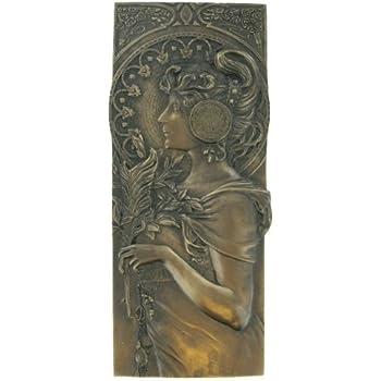 Art Nouveau Style Genuine Hot Cast 100/% Bronze Relief Wall Plaque