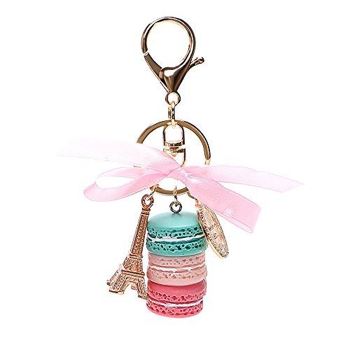 caron Schlüsselanhänger Eiffelturm KFZ Schlüssel Ringe Lovely Schlüsselanhänger Geschenke für Mädchen Halterung Auto Zubehör Key Kette (Blau & Rosa & Rot) ()