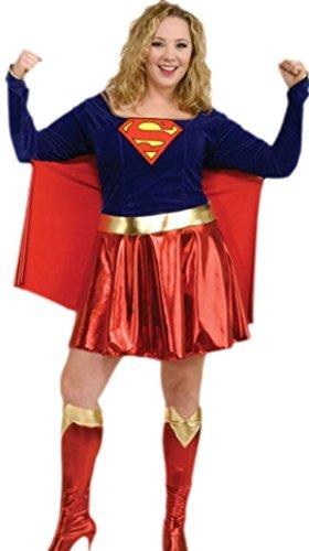 Karnevalsbud - Damen Karnevalskomplettkostüm Minikleid Super Girl , XXL, (Super Kostüm Girl Marvel Hero)