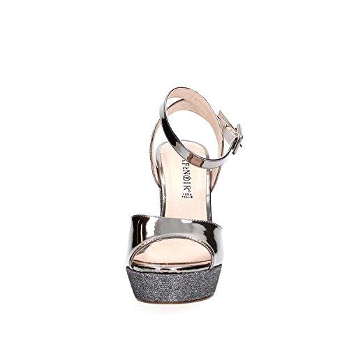 Sandalo Cafè Noir LG915 in laminato e glitter Grigio