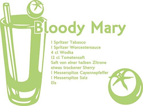 Preisvergleich Produktbild Wandtattoo für Küche Esszimmer Ideen Cocktail Rezept Bloody Mary mit Tomaten (54x40cm // 822 water lilly)