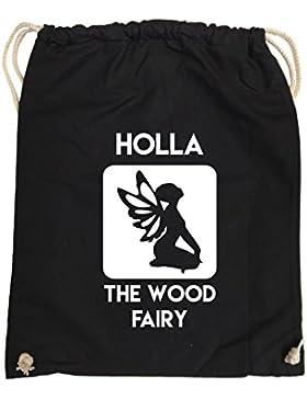 Comedy Bags - HOLLA THE WOOD FAIRY - hipster Turnbeutel, bedruckter Gymbag aus 100 % Baumwolle, praktischer Sport-Jute-Beutel...