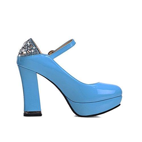 AgooLar Femme Rond Boucle Pu Cuir Mosaïque à Talon Haut Chaussures Légeres Bleu