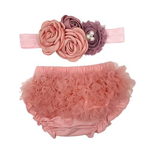 Besten Am Neugeborenen Kostüm - NROCF Premium Neugeborenen Fotografie Requisiten, Puffy Chiffon Hip Pants, Blume Kopfschmuck Für 0-12 Monate Baby,Pinkc
