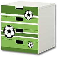 Preisvergleich für Stikkipix Fußball Möbelsticker/Aufkleber - S4K10 - passend für die Kinderzimmer Kommode mit 4 Fächern/Schubladen STUVA von IKEA - Bestehend aus 4 passgenauen Möbelfolien (Möbel nicht inklusive)