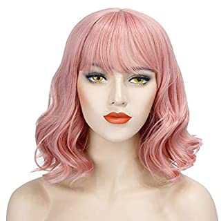 Discoball Short Curly Wig Charming Lady Bob with Fringe Wave With Wig Cap for Women Cosplay Party Daily Use (Pink)